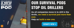 Greenpeace ask for donations for a survival pod to stop drilling in the Arctic